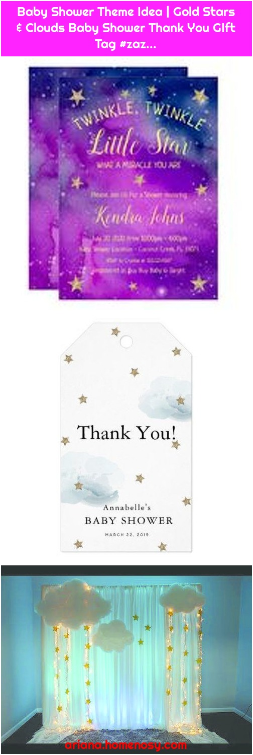 Baby Shower Theme Idea | Gold Stars & Clouds Baby Shower Thank You GIft Tag #zaz...