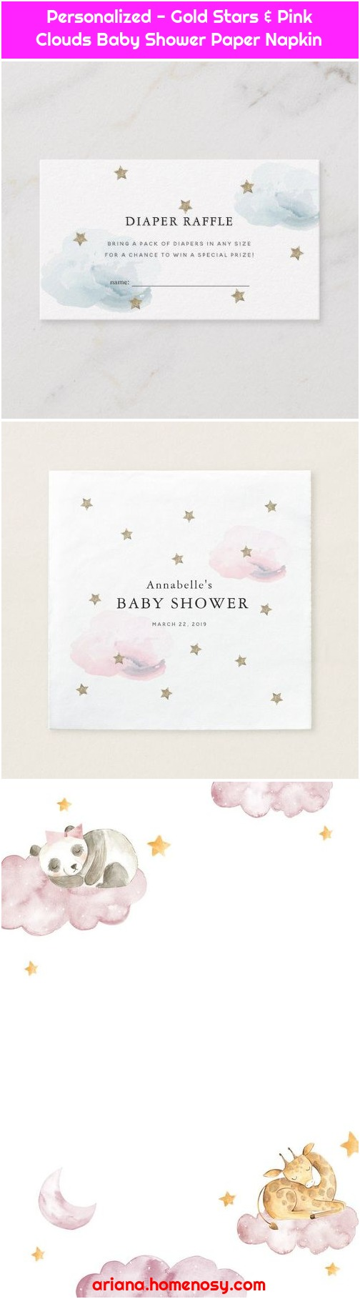 Personalized - Gold Stars & Pink Clouds Baby Shower Paper Napkin