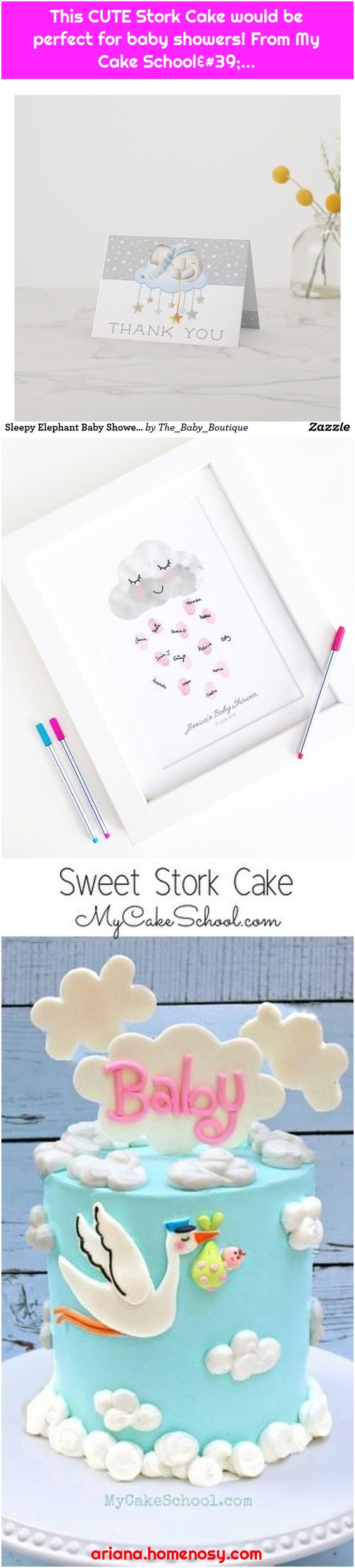 This CUTE Stork Cake would be perfect for baby showers! From My Cake School'...