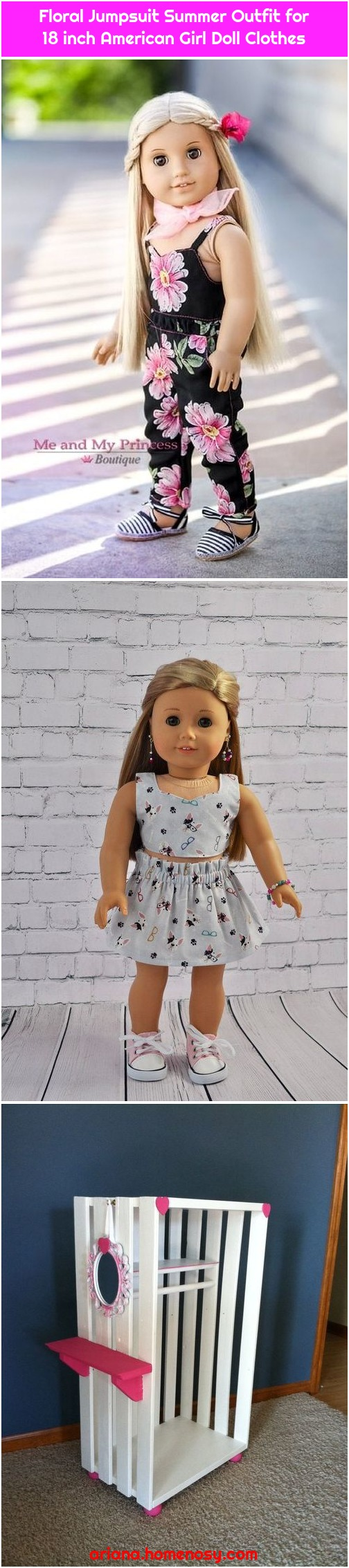Floral Jumpsuit Summer Outfit for 18 inch American Girl Doll Clothes