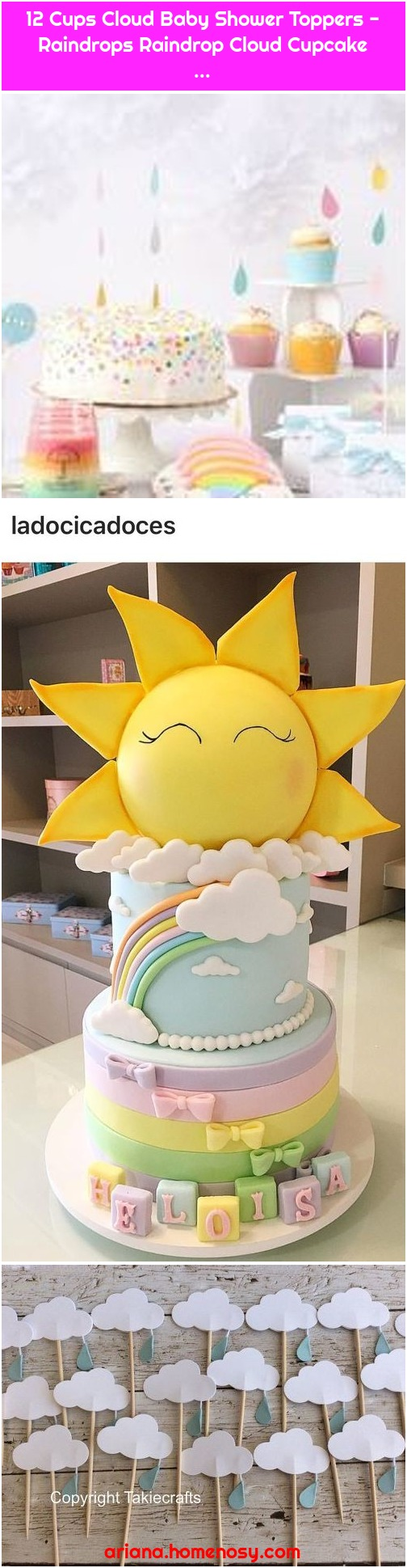 12 Cups Cloud Baby Shower Toppers - Raindrops Raindrop Cloud Cupcake ...