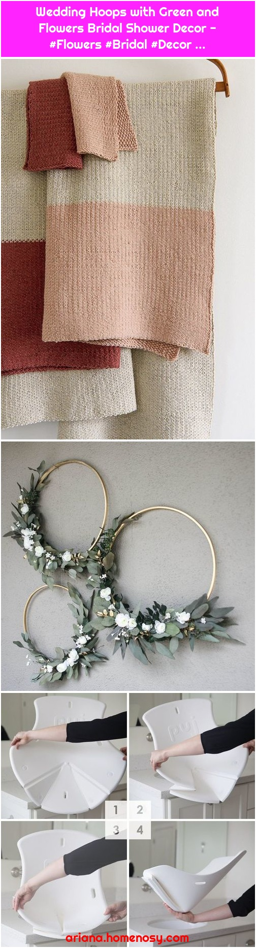 Wedding Hoops with Green and Flowers Bridal Shower Decor - #Flowers #Bridal #Decor ...