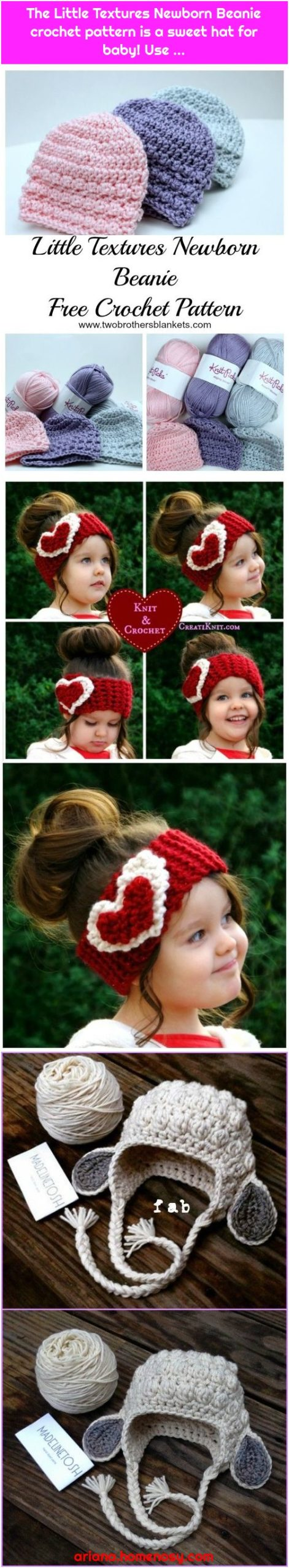 The Little Textures Newborn Beanie crochet pattern is a sweet hat for baby! Use ...