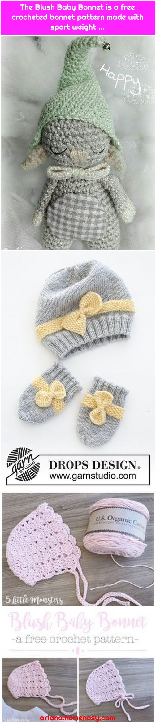 The Blush Baby Bonnet is a free crocheted bonnet pattern made with sport weight ...