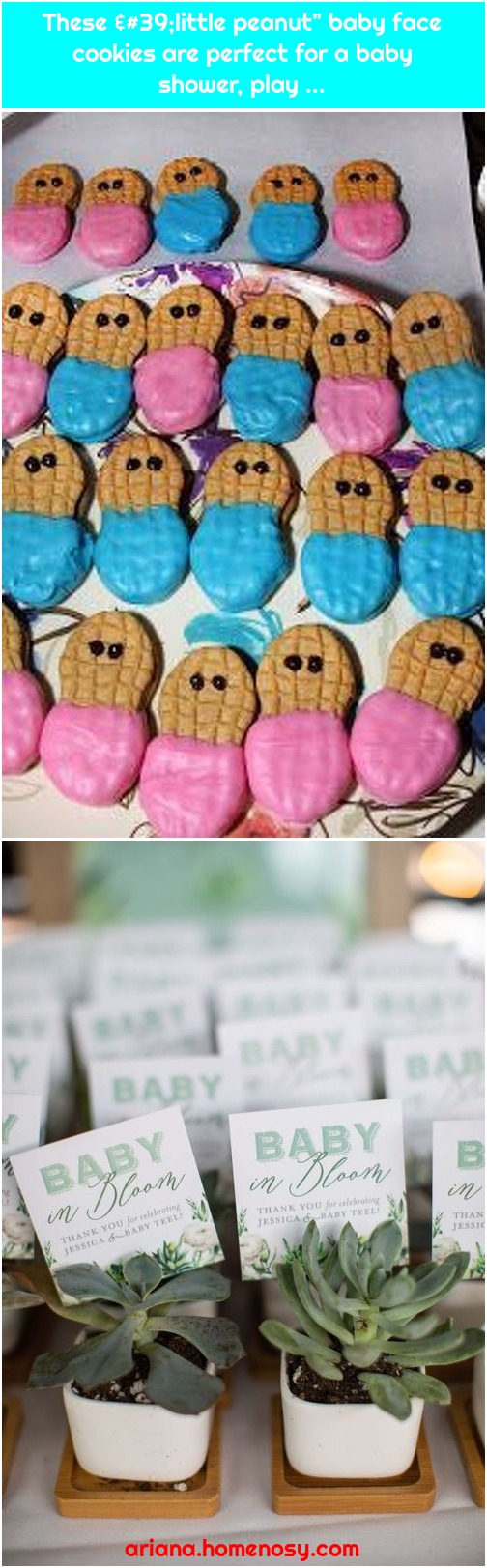 """These 'little peanut"""" baby face cookies are perfect for a baby shower, play ..."""