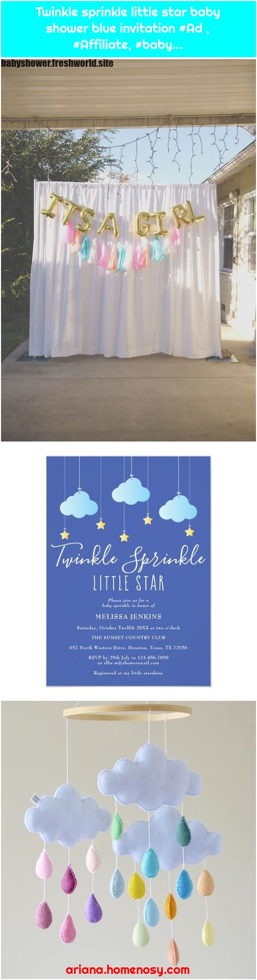 Twinkle sprinkle little star baby shower blue invitation #Ad , #Affiliate, #baby...