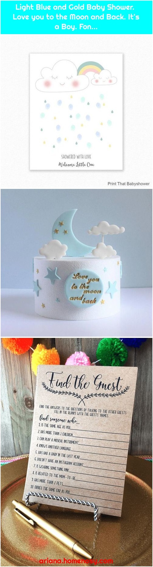 Light Blue and Gold Baby Shower. Love you to the Moon and Back. It's a Boy. Fon...