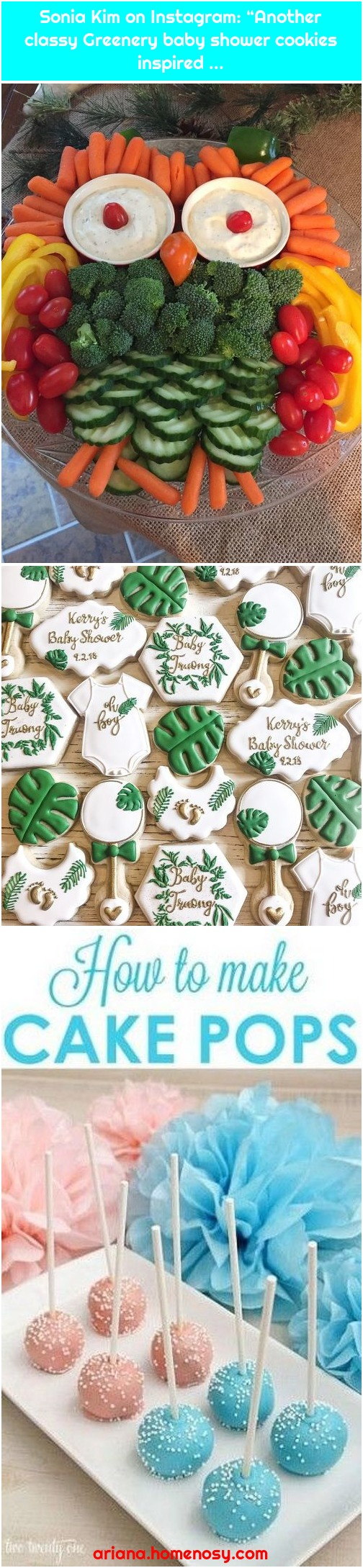 """Sonia Kim on Instagram: """"Another classy Greenery baby shower cookies inspired ..."""