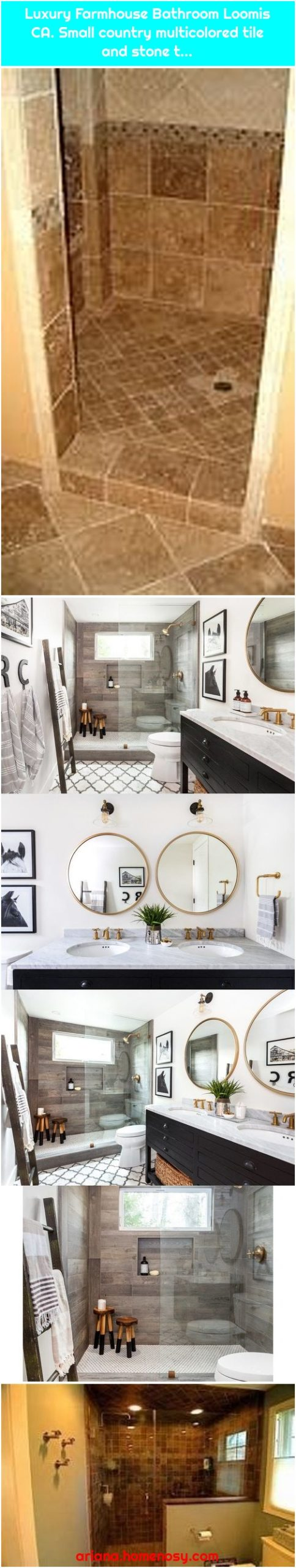 Luxury Farmhouse Bathroom Loomis CA. Small country multicolored tile and stone t...