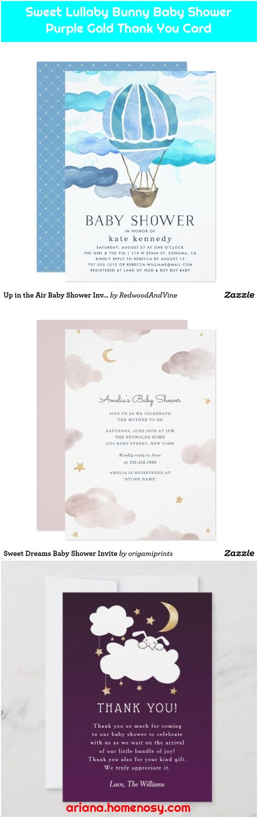 Sweet Lullaby Bunny Baby Shower Purple Gold Thank You Card