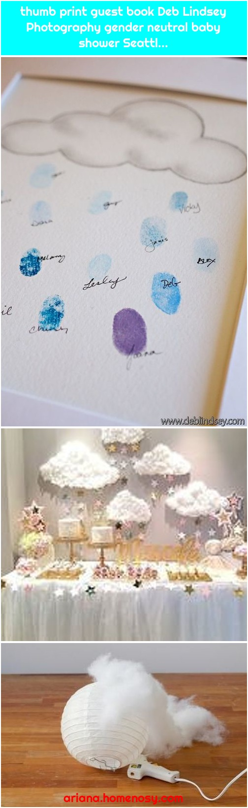 thumb print guest book Deb Lindsey Photography gender neutral baby shower Seattl...