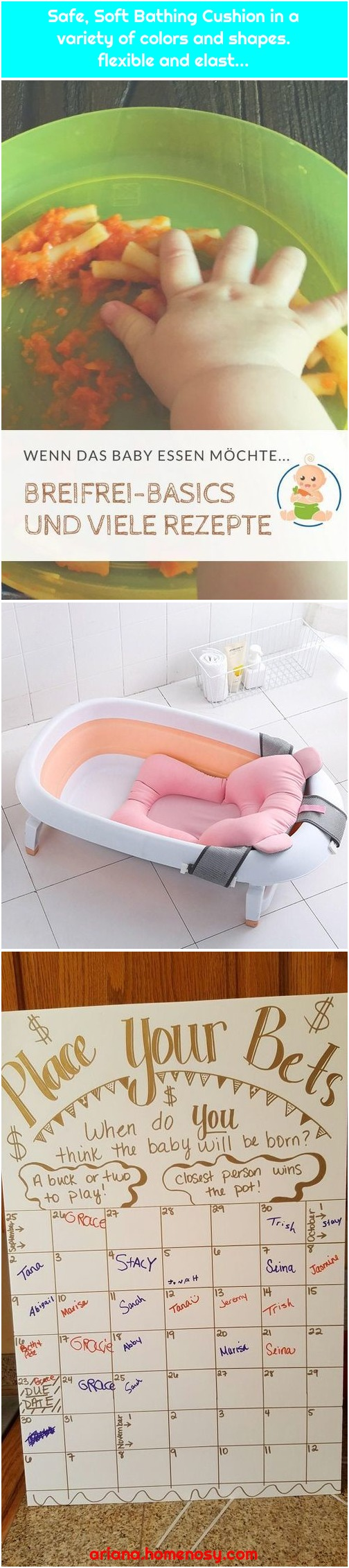 Safe, Soft Bathing Cushion in a variety of colors and shapes. flexible and elast...