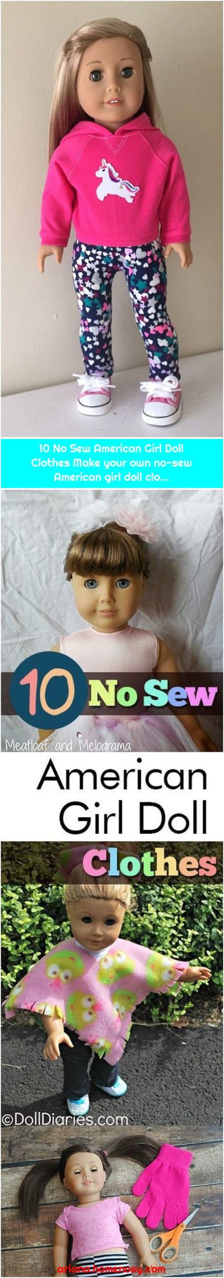 10 No Sew American Girl Doll Clothes Make your own no-sew American girl doll clo...