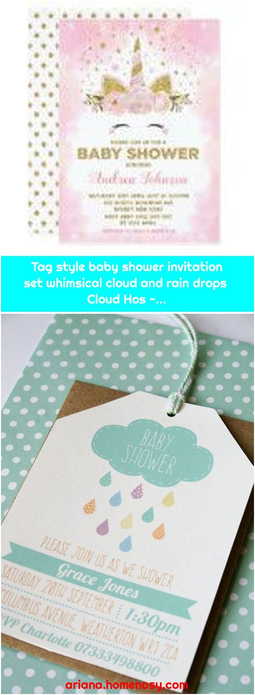 Tag style baby shower invitation set whimsical cloud and rain drops Cloud Hos -...