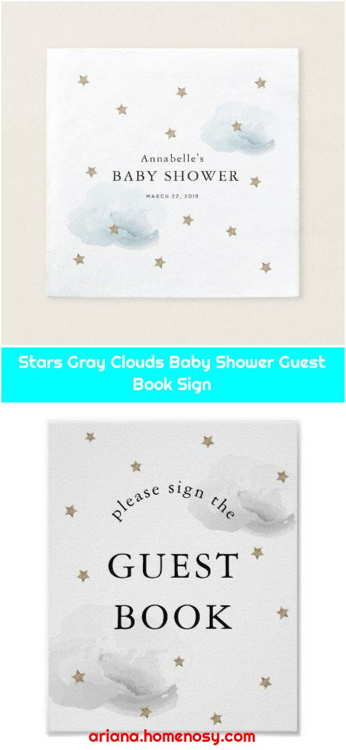 Stars Gray Clouds Baby Shower Guest Book Sign