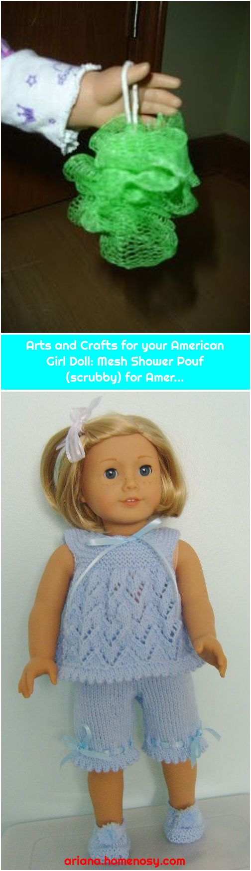 Arts and Crafts for your American Girl Doll: Mesh Shower Pouf (scrubby) for Amer...
