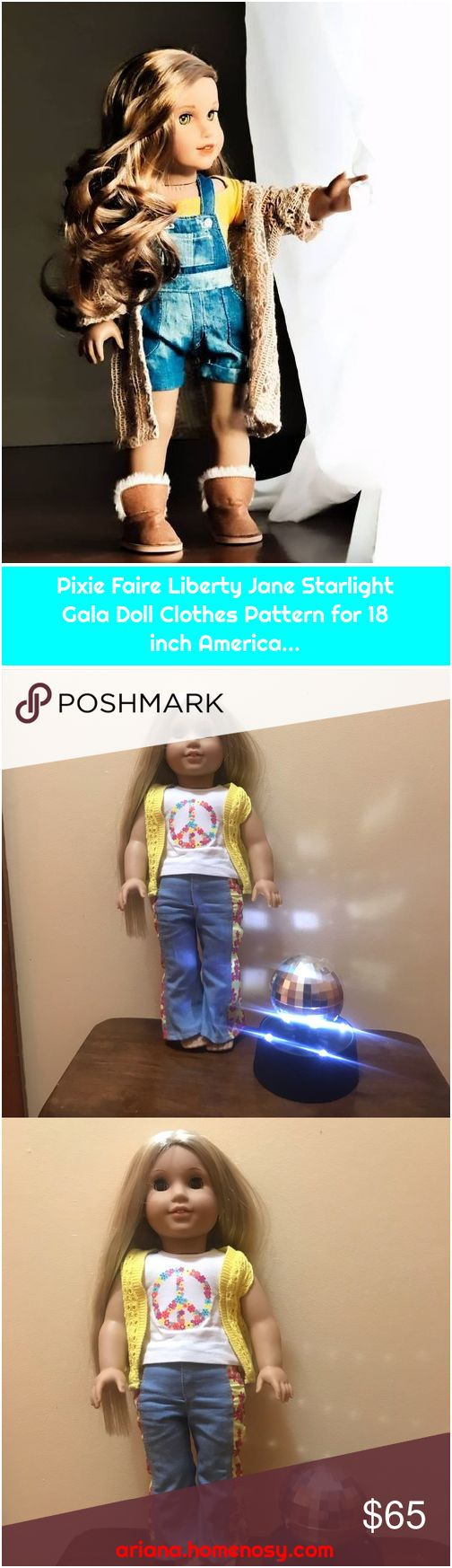 Pixie Faire Liberty Jane Starlight Gala Doll Clothes Pattern for 18 inch America...