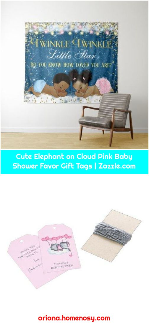 Cute Elephant on Cloud Pink Baby Shower Favor Gift Tags | Zazzle.com