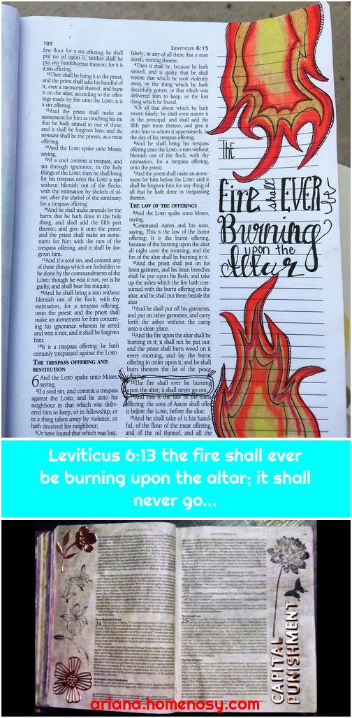 Leviticus 6:13 the fire shall ever be burning upon the altar; it shall never go...