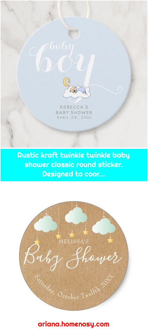 Rustic kraft twinkle twinkle baby shower classic round sticker. Designed to coor...