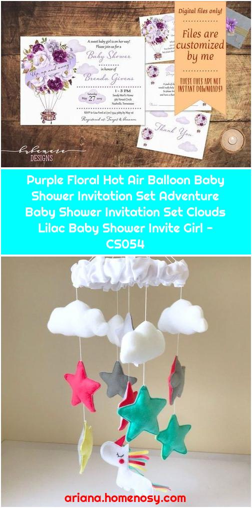 Purple Floral Hot Air Balloon Baby Shower Invitation Set Adventure Baby Shower Invitation Set Clouds Lilac Baby Shower Invite Girl - CS054