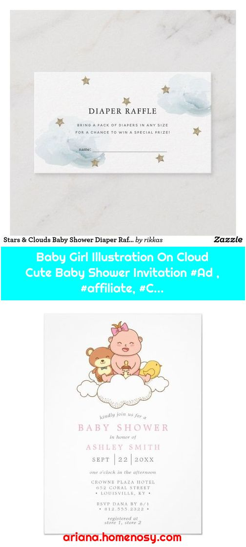 Baby Girl Illustration On Cloud Cute Baby Shower Invitation #Ad , #affiliate, #C...