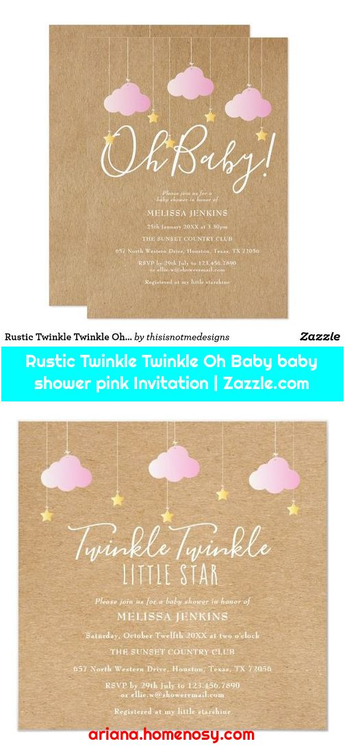 Rustic Twinkle Twinkle Oh Baby baby shower pink Invitation | Zazzle.com