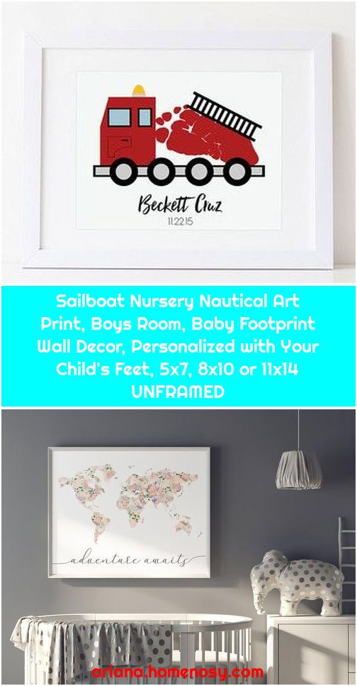 Sailboat Nursery Nautical Art Print, Boys Room, Baby Footprint Wall Decor, Personalized with Your Child's Feet, 5x7, 8x10 or 11x14 UNFRAMED