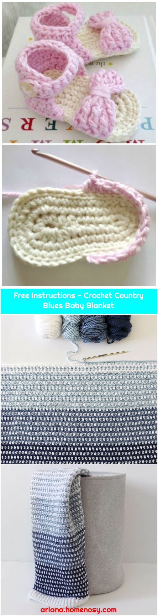 Free Instructions - Crochet Country Blues Baby Blanket