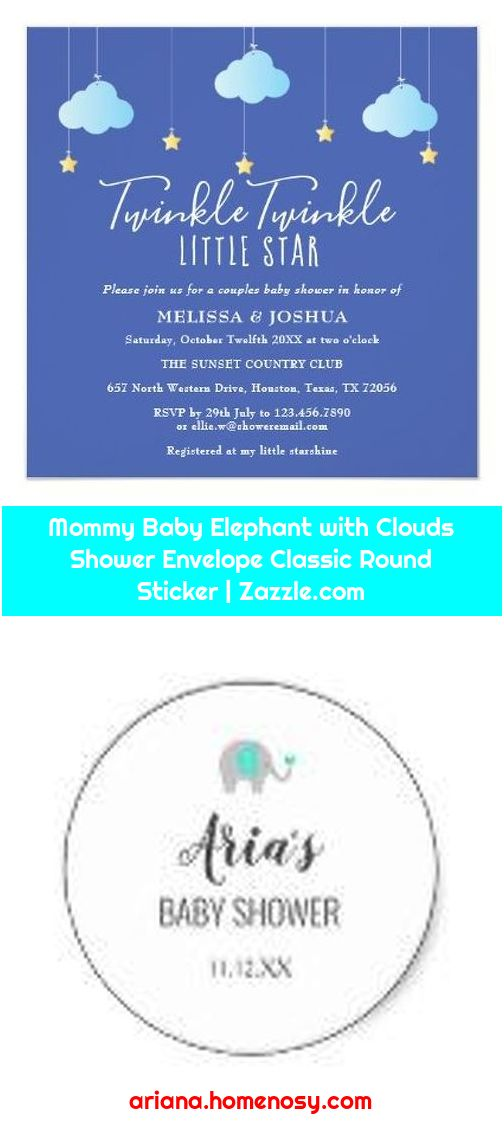 Mommy Baby Elephant with Clouds Shower Envelope Classic Round Sticker   Zazzle.com