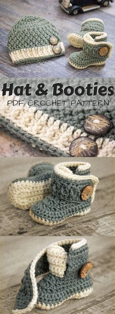 Best Baby Patterns #haken Adorable crochet pattern set for baby hat and booties....