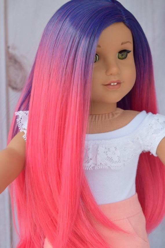 """Custom DYED OMBRE Doll Wig for 18"""" American Girl Doll Heat Safe Tangle Resistant - fits 10-11.5"""" head size of all 18"""" dolls"""