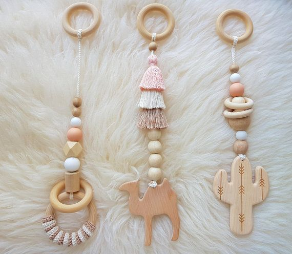Camel cactus wooden baby gym toys set of 3. Wanderlust. Desert. Boho. Travel. MOBILES ONLY Activity center toys, play gym toys wood