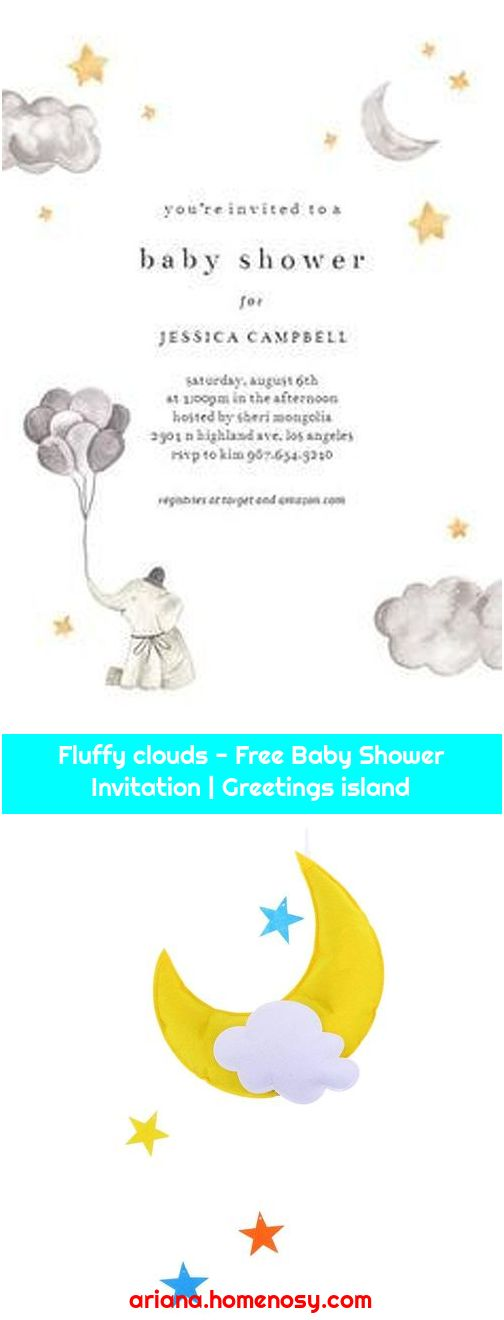 Fluffy clouds - Free Baby Shower Invitation   Greetings island