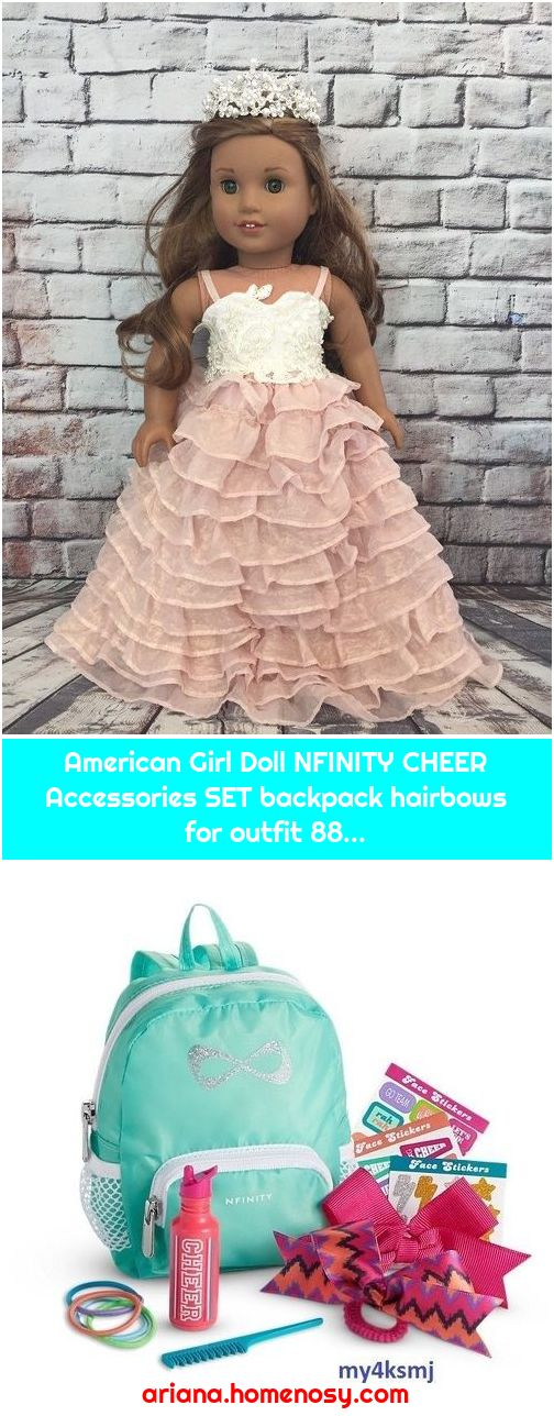 American Girl Doll NFINITY CHEER Accessories SET backpack hairbows for outfit 88...