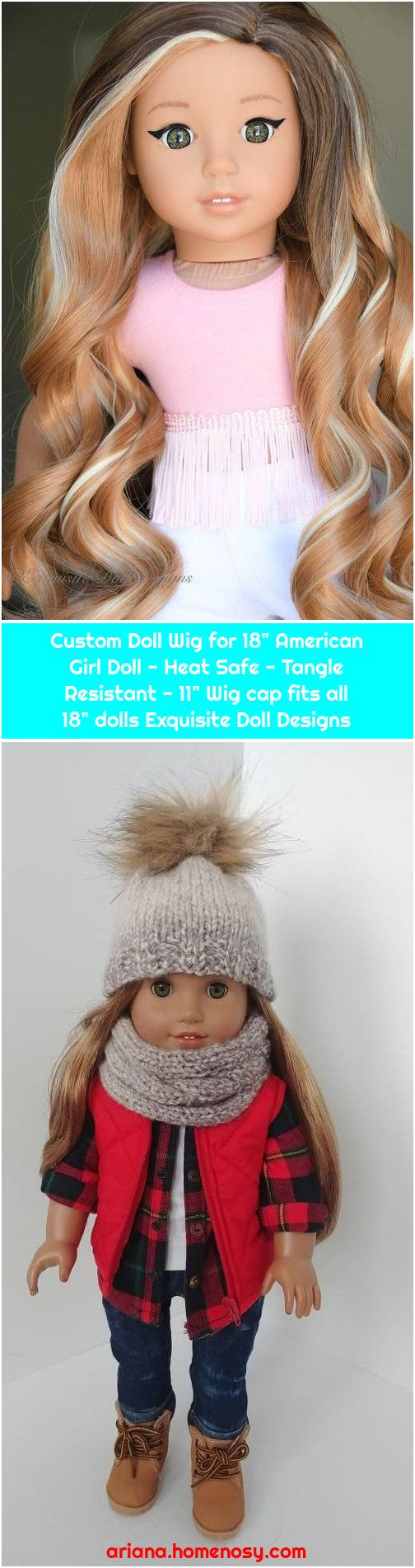 """Custom Doll Wig for 18"""" American Girl Doll - Heat Safe - Tangle Resistant - 11"""" Wig cap fits all 18"""" dolls Exquisite Doll Designs"""