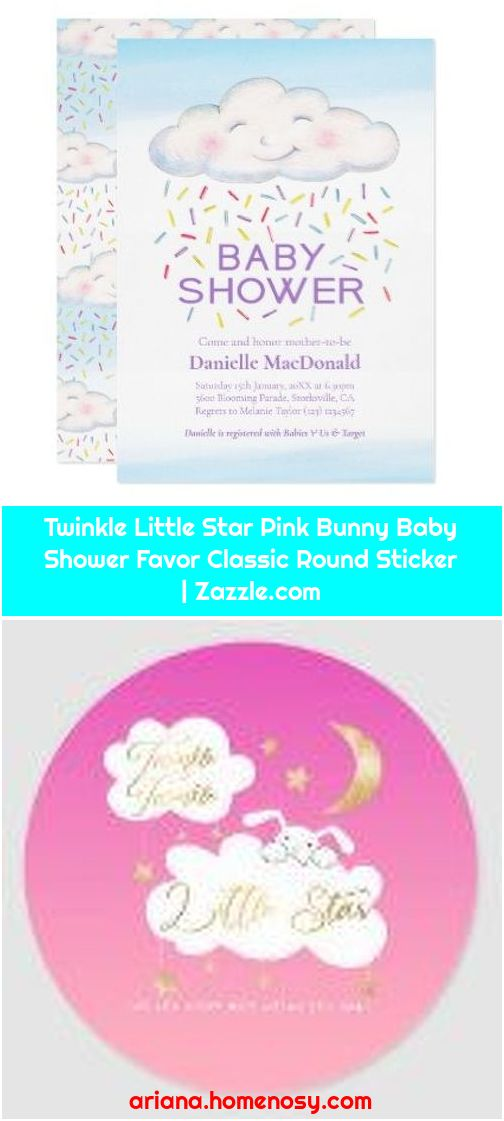 Twinkle Little Star Pink Bunny Baby Shower Favor Classic Round Sticker   Zazzle.com