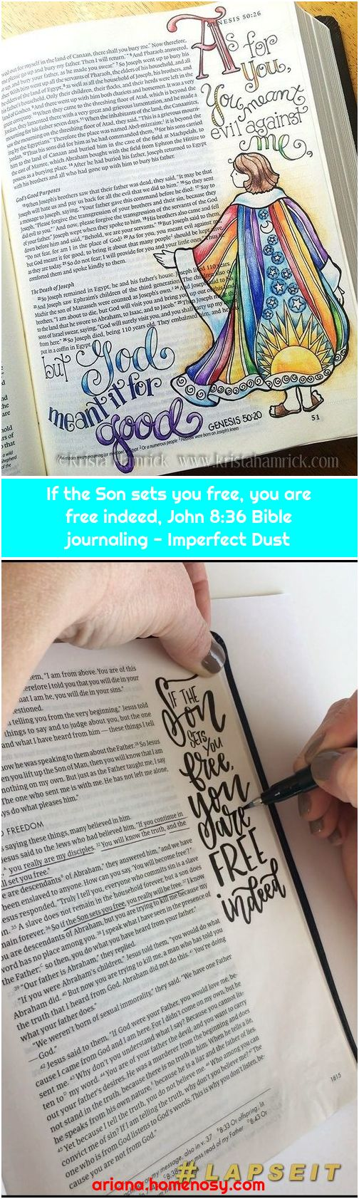If the Son sets you free, you are free indeed, John 8:36 Bible journaling - Imperfect Dust