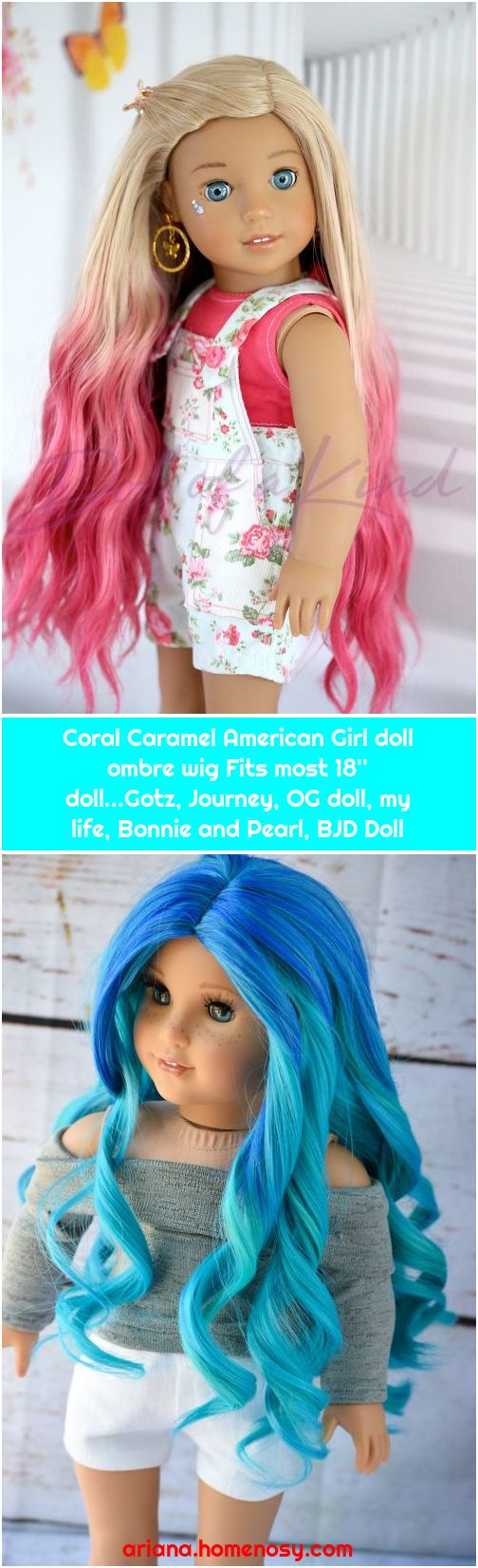 Coral Caramel American Girl doll ombre wig Fits most 18'' doll...Gotz, Journey, OG doll, my life, Bonnie and Pearl, BJD Doll