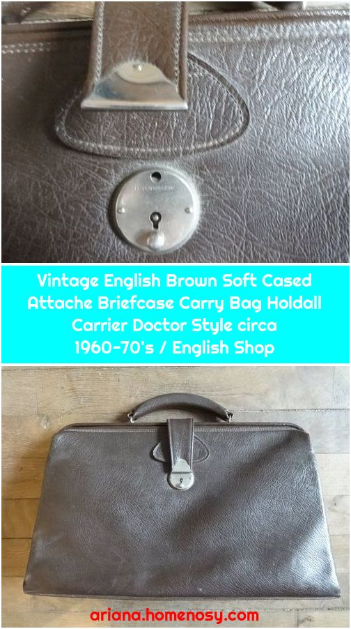 Vintage English Brown Soft Cased Attache Briefcase Carry Bag Holdall Carrier Doctor Style circa 1960-70's / English Shop