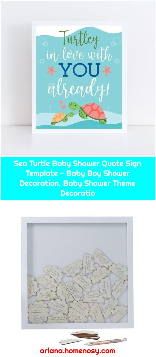 Sea Turtle Baby Shower Quote Sign Template - Baby Boy Shower Decoration, Baby Shower Theme Decoratio