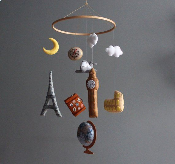 Baby mobile boy Travel baby mobile Vintage travel nursery decor Travel theme nursery mobile B...