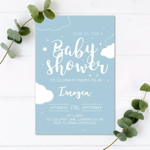 Baby Shower Invitations Personalised Boy Girl Neutral Party Invite Clouds Cute  | eBay