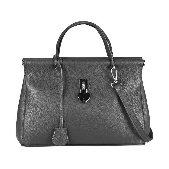 OBC Made in Italy DAMEN Business LEDER TASCHE Doctor Style Grau