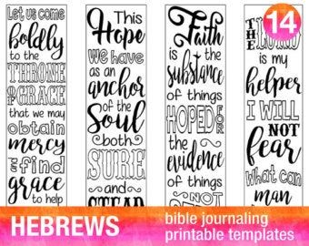 MARK - 4 Bible journaling printable templates, illustrated christian faith bookmarks, black and white bible verse prayer journal stickers