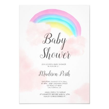 Cute rainbow pink clouds watercolor baby shower invitation | Zazzle.com