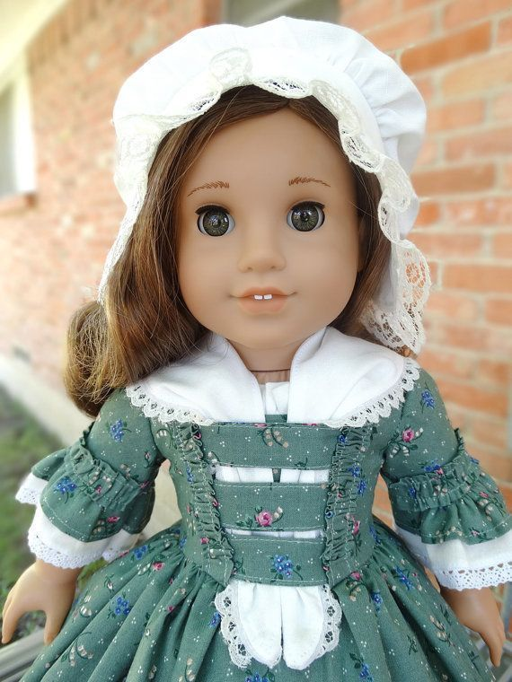 18 Doll Clothes Colonial Style Gown and Cap Fits American Girl Felicity, Elizabe...