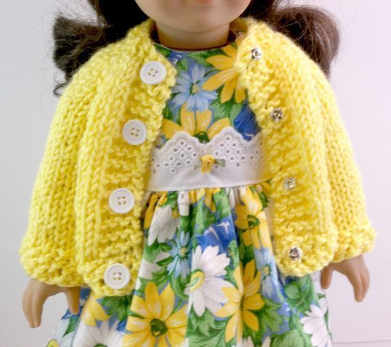18 inch Doll Clothes American Girl Doll Clothes Blue & Yellow Floral Dress with ...