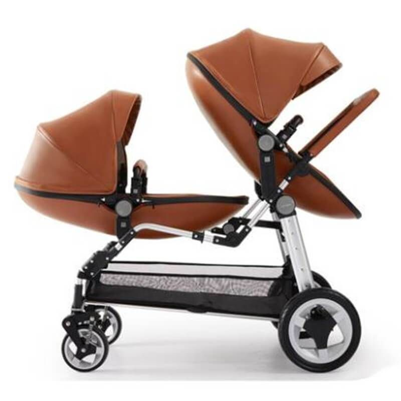 2 in 1 Egg Shell Folding Leather Double Baby Stroller