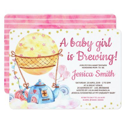 A Baby Girl is Brewing Tea Party Baby Shower Invitation | Zazzle.com